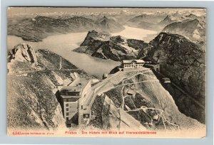Pilatus Die Hotels mit Blick auf Vierwaldstattersee Vintage Postcard