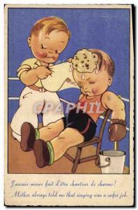 Old Postcard Boxing Children