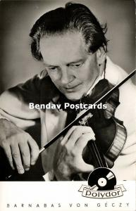 Hungarian Violinist and Kapellmeister Barnabás von Géczy (1950s) Polydor RPPC
