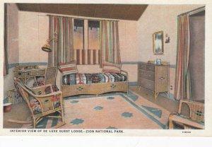 ZION National Park , Utah , 1910s ; Interior , De luxe Guest Lodge