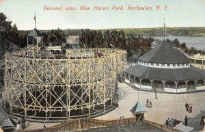 GLEN HAVEN PARK Roller Coaster, Rochester, New York ca 1910s Vintage Postcard