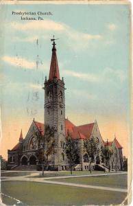 Indiana Pennsylvania~Presbyterian Church~Stone Bldg with Tall Steeple~1913 PC