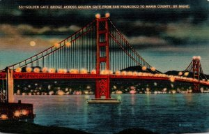 California San Francisco Golden Gate Bridge At Night 1943