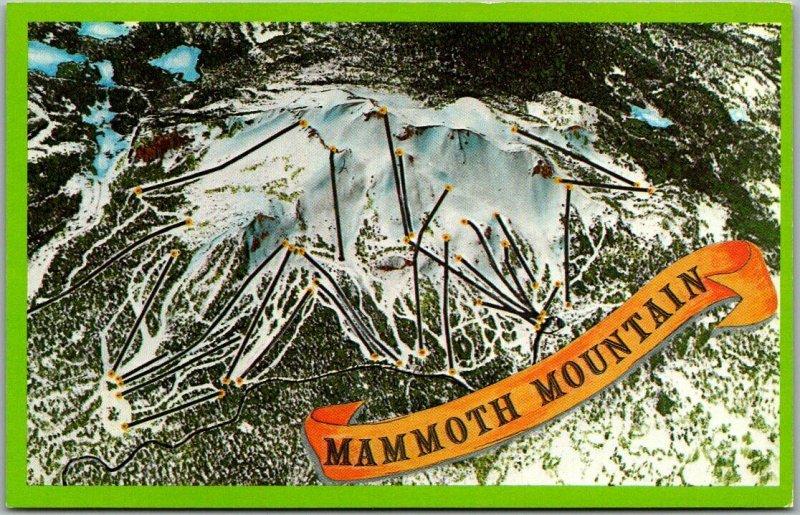 Vintage MAMMOTH MOUNTAIN Calif Postcard Ski Trails Map Artist-Signed Bill Kelsey
