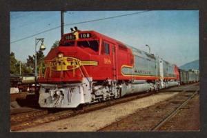 CA Santa Fe Railroad Train PASADENA CALIFORNIA Postcard