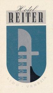 Italy Venezia Hotel Reiter Vintage Luggage Label sk3470