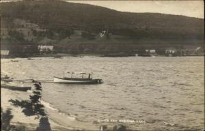 Boat & Shorefront - South End Mascoma Lake NH c1910 Real Photo Postcard