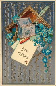 Letter Box~Blue Forget-Me-Nots~Art Nouveau~Ink Well~Quill~Gold Emb~Germany~GEL