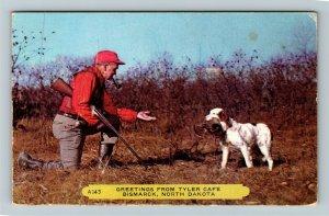 Bismarck ND- North Dakota, General Greeting, Hunter and his Dog, Chrome Postcard