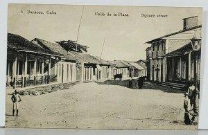 Baracoa Cuba Calle de la Plaza Square Street Antique Postcard K1