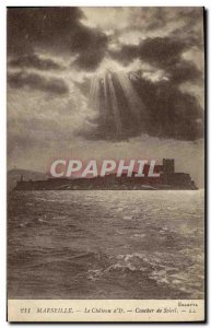 Old Postcard Marseille Le Chateau d If Sunset