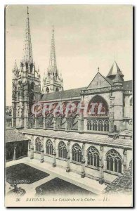 Old Postcard Bayonne Cathedral and the Cloister
