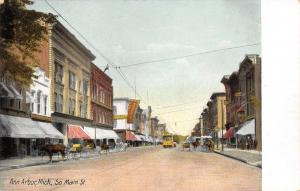 Ann Arbor Michigan~Cornell's? Beer & Tea~Trolley & Horse & Buggies~Main St c1910