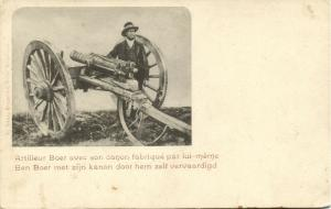 BOER WAR, Boer Soldier with his own Cannon, Artillery (1899)