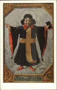 Munchen Germany Beer Child Yellow Cross Cloak c1910 Postcard #4