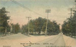 Akron Ohio Market Buchtel Streets 1909 Postcard Hand Colored 3394