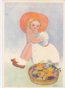 Watercolor Portrait of Blond Girl in Orange Sun Hat Beside Basket of Fruit, 1...