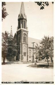 Beaver Dam Wisconsin~St Peters Church~1940s Real Photo Postcard RPPC