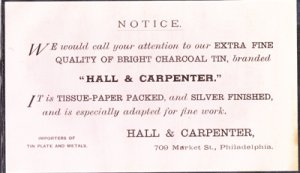 PHILADELPHIA PA - HALL & CARPENTER / Advertising card / TIN WARE 1910s