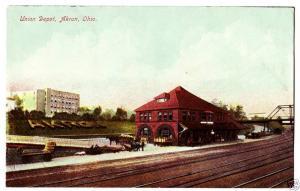 Old AKRON Ohio Postcard UNION DEPOT Railroad Summit Co