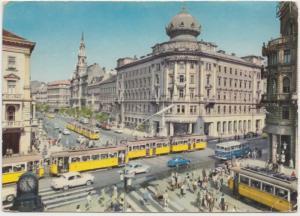 BUDAPEST, Crossing of the Boulevard and Rakoczi Street, Hungary, 1966 used