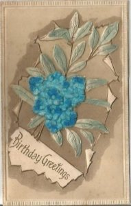Birthday Greetings Forget-Me-Nots Heavily Embossed Airbrushed and Flocked Blue