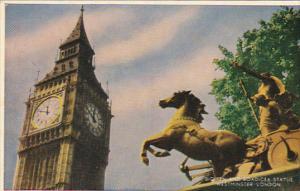 England London Big Ben and Boadicea Statue Westminster