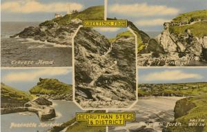 Greetings from Bedruthan Steps & District, England, 20-30s; LIGHTHOUSE, 5-views