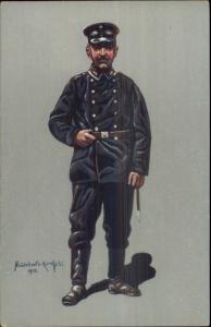 German Military Soldier/Officer in Uniform Aluschwitz Kurettski 1915 WWI PC #4