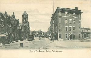 Bellows Falls, Vermont Town Square, Patriotic Bunting Undivided Back Postcard
