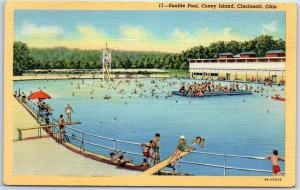 Cincinnati, Ohio Postcard Sunlite Pool, CONEY ISLAND Bathing Scene Linen 1940s