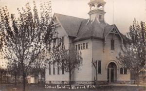 Woodland MI Fancy Schoolhouse w/Open Belltower~Vergeboards~Arch Door~1910 RPPC