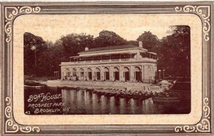 Boat House, Prospect Park., Brooklyn, N.Y., Early Postcard, Used in 1910