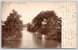 Buckhannon Michigan~House On Riverbank~May Smith Downes: Go Bowling~1907 RPPC