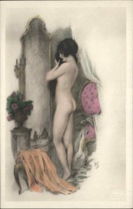 Erotic Nude Woman c1910 Tinted Real Photo Postcard of Art Signed HS #3
