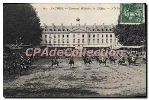 Postcard Old Saumur Carrousel The Military Figures