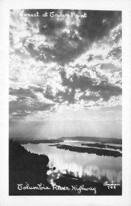 RPPC COLUMBIA RIVER HIGHWAY Crown Point Oregon Sunset Christian Vintage Postcard