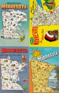 Minnesota Greetings From 4x Map Postcard s
