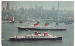 Shipping; SS United States & SS America At New York PPC, Unused, c 1950's