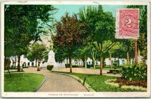 Postally-Used Bogota, COLOMBIA Postcard PARQUE DE SANTANDER 1917 Cancel /Stamp