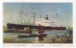 Grace Line Ships Santa Monica Clara Sofia postcard