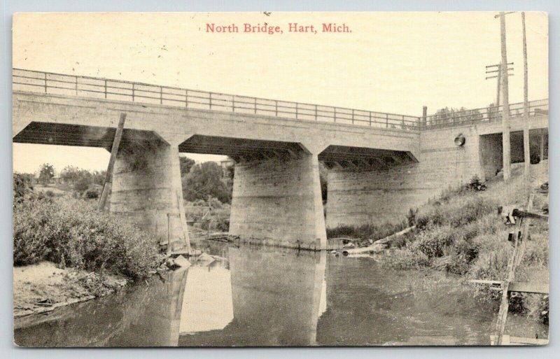 Hart Michigan~North Deck Bridge~Concrete Girders~Lost?~View From Below~c1910 PC