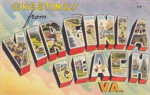 Large Letter Greetings ,VIRGINIA BEACH , Virginia , PU-1952