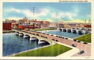 Iowa Des Moines Bridges Over Des Moines River 1949 Curteich