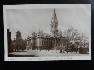 Hampshire PORTSMOUTH TOWN HALL & TECHNICAL SCHOOL c1912 RP Postcard by Kingsway