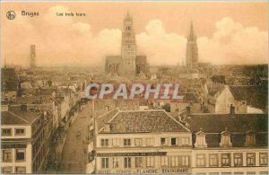Old Postcard Bruges The three towers
