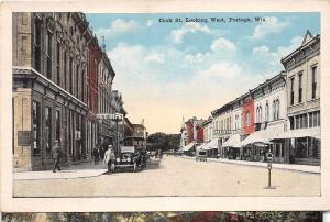 D58/ Portage Wisconsin Wi Postcard c1915 Cook Street Bee Hive Stores Autos