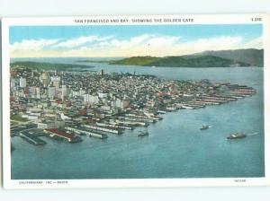 Unused W-Border AERIAL VIEW OF TOWN San Francisco California CA n3989