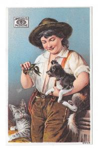 Victorian Trade Card James Pyles Pearline Soap Boy Crawfish Dog Cat Advertising