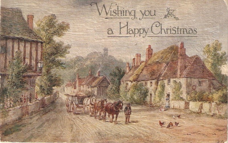 A.R.Quinton. Village street with horse carts Old vintage English Greetings PC